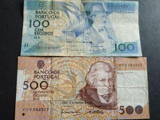 Lote 2 billetes circulados de Portugal