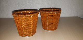 2 Vasos portavelas naranjas