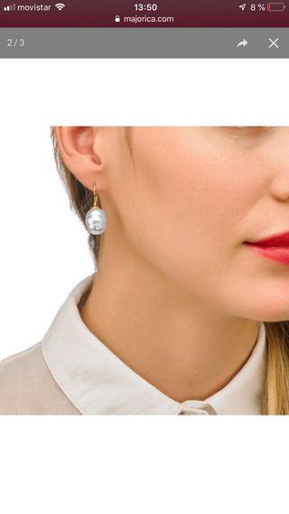 Joya, pendientes perla Majorica, plata dorada