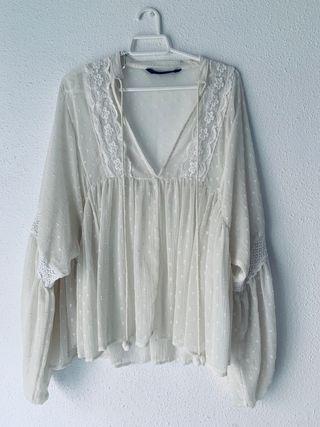 Blusa-camisa plumeti Zara