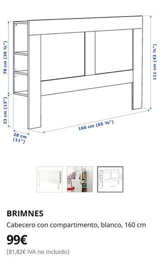 Cabecero de cama con almacenaje Brimnes 1,60m IKEA