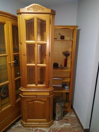 vitrina rinconera, botellero de pino