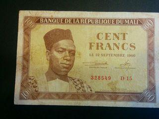 MALI Billete 100 francos 1960