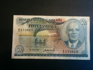 MALAWI Billete 50 tambala 1978