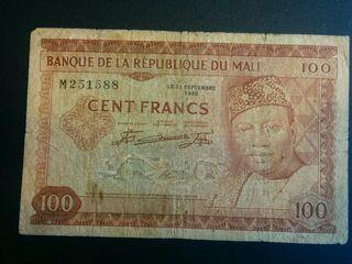 MALI Billete de 100 francos 1960