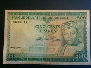 MALI Billete de 500 francos 1960
