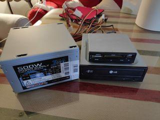 Fuente de alimentación 500W + lector DVD/tarjetas