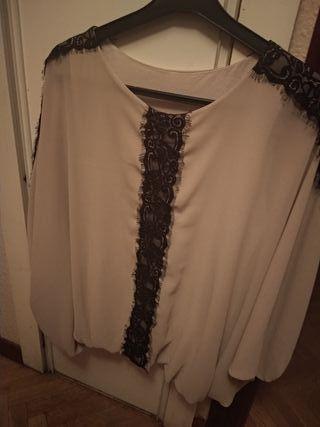 blusa con encaje talla grande