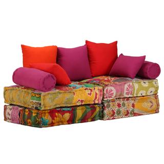 vidaXL Sofá cama modular de 2 plazas de tela244985