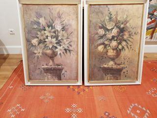 2 cuadros flores.