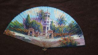 Abanico antiguo papel pintado a mano