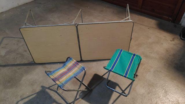 Camping Mesa Plegable con 2 Sillas