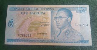 CONGO RD billete 10 makuta 1967