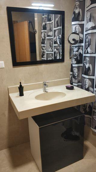 espejo de baño con foco led y mueble baño