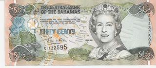 BAHAMAS BILLETE 1/2 DOLLAR 2001 SIN CIRCULAR