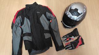 Chaqueta cordura mujer, casco y guantes