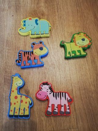 set de 2 puzzles madera y cartón