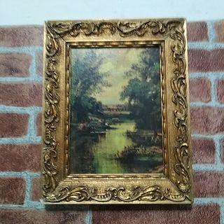 Cuadro y marco antiguo madera y oro