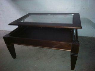 mesa de centro con cristal elevable
