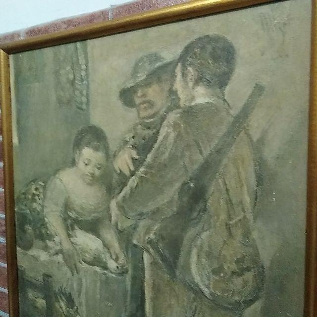 "Cuadro antiguo "" motivo caza"" vintage"