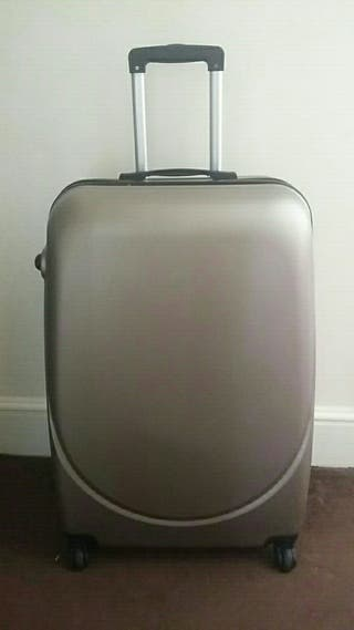 Large gray suitcase.