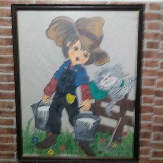 Cuadros pintura a la cera de Niño y niña vintage