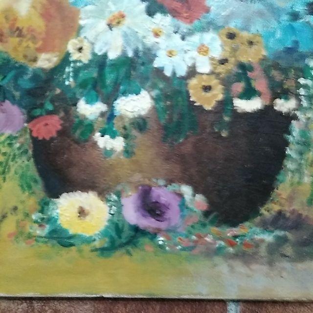 Cuadro pintura al óleo bodegón floral antiguo