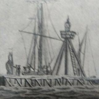 Cuadro litografía Naval antiguo holandesa