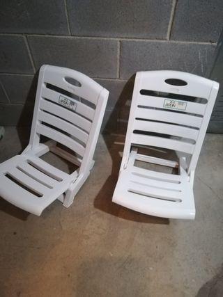 sillas plegables playa y jardín plástico