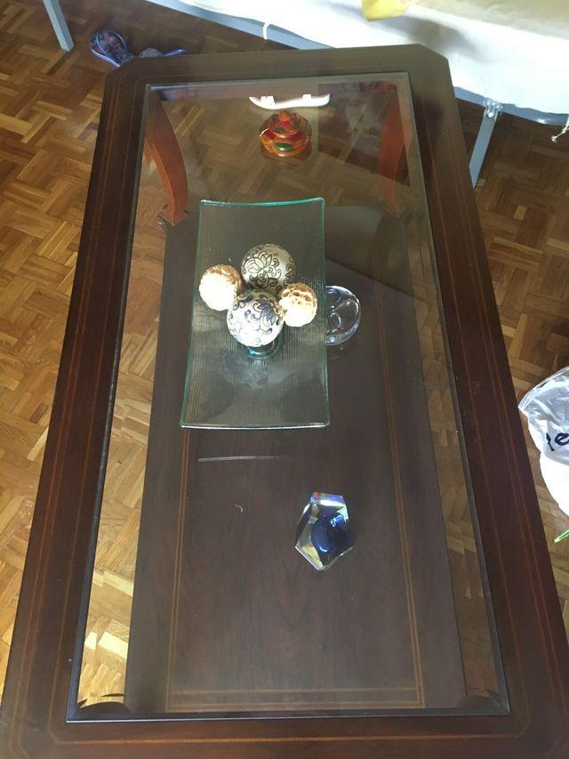 Mesa centro cristal y madera nueva