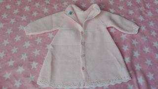 Vestido de primera puesta niña rosa claro c/capota