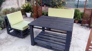 mesa sillas jardin palets