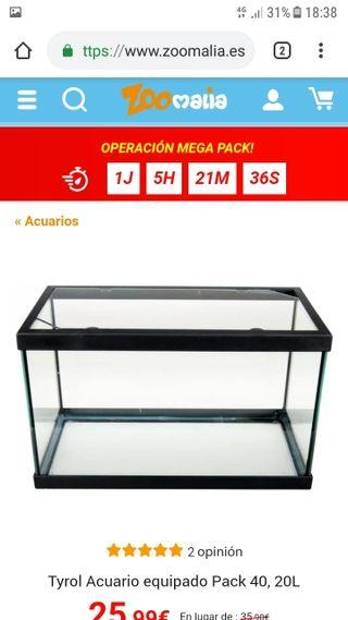 Pecera 25Litros + Filtro de Agua + Comida de peces