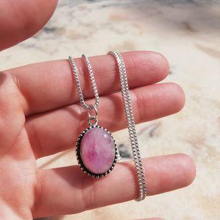 Colgante y cadena piedra luna rosa