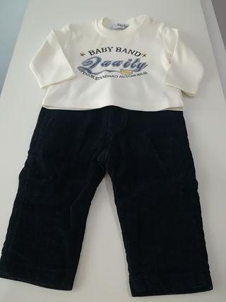 Conjunto bebé niño pana bl marino Talla 3-6 meses