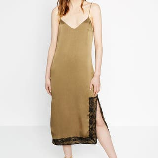Vestido lencero kaki Zara
