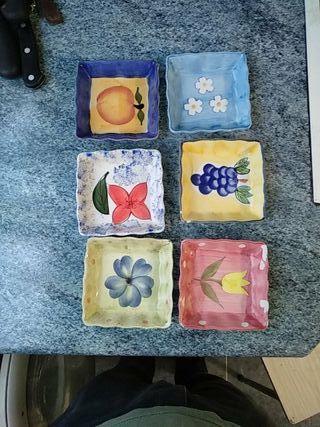 platillos de frutas cuadrados
