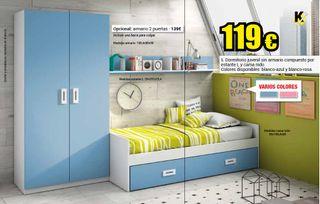 Dormitorio Juvenil Cama nido compacta