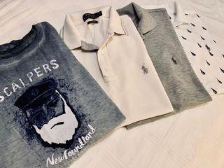 3 polos y camiseta