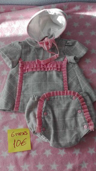 Vendo vestido niña 6 meses +braguita+capota