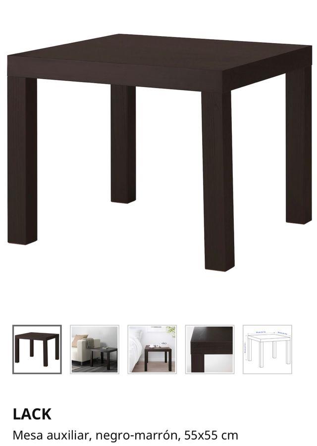Mesa cuadrada negra 55x55