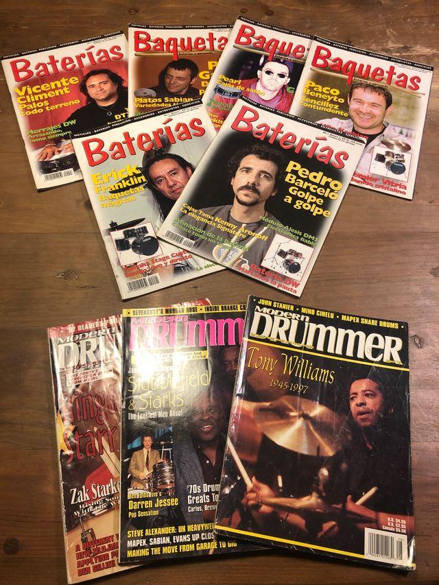 Revistas Baterías , Baquetas y Modern Drummer
