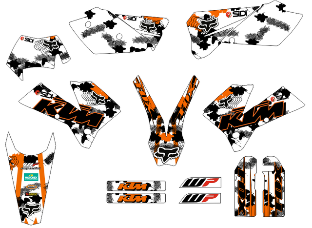 ADHESIVOS KTM 2005-07 EXC Y 04-06 SX, MX
