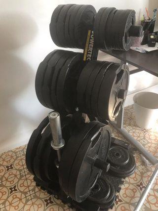 Conjunto: Discos olímpicos + Soporte + Discos 30mm