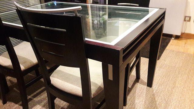 Mesa comedor de madera y cristal de segunda mano por 150 ...