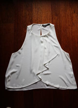Blusa Zara Trf Blanca Sin Mangas Volante XL