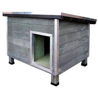 Caseta de madera para perro gris