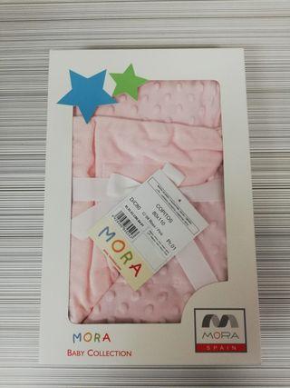 Manta Mora de cuna NUEVA Rosa Copitos 80 x 110 cms