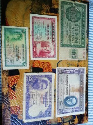 Billetes de España antiguos.5.10.25.50.100.pesetas