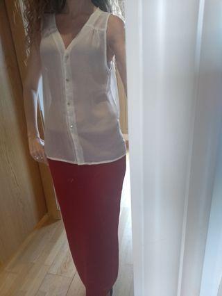 Blusa blanca, talla L